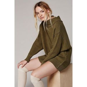 Free People Livvy Mock Neck Pullover Sweater Olive